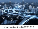 blue tone city scape and wifi... | Shutterstock . vector #440751613