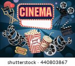 film reels  clapper board and... | Shutterstock .eps vector #440803867