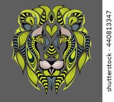 patterned colored lion head.... | Shutterstock .eps vector #440813347