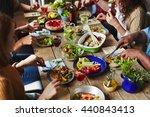 vegaterian dinner | Shutterstock . vector #440843413