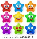 star faces vector set with... | Shutterstock .eps vector #440843917