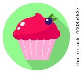 pink cupcake with berry in flat ... | Shutterstock .eps vector #440854837