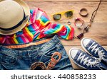 travel clothing accessories... | Shutterstock . vector #440858233