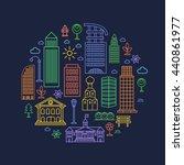 city design elements in linear... | Shutterstock .eps vector #440861977