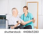 old man in wheelchair lifting... | Shutterstock . vector #440865283