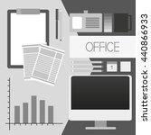 flat office set in the gray... | Shutterstock .eps vector #440866933