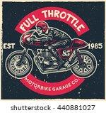 man ride cafe racer motorcycle... | Shutterstock .eps vector #440881027