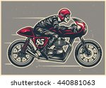 hand drawing man riding a cafe... | Shutterstock .eps vector #440881063