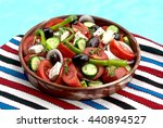 traditional greek salad in...