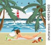 sea landscape summer beach ... | Shutterstock .eps vector #440913433