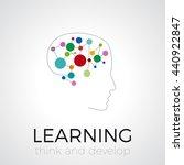 vector digital brain  thinking... | Shutterstock .eps vector #440922847