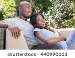 young couple relaxing on the... | Shutterstock . vector #440990113