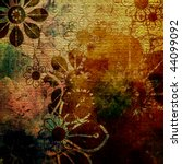 art grunge stylized floral vintage paper textured watercolor background in red brown, green, old gold and pink colors