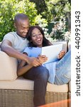 young couple relaxing on the... | Shutterstock . vector #440991343