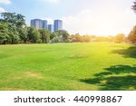 city park under blue sky with... | Shutterstock . vector #440998867