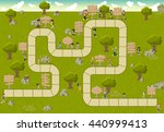 board game with a block path on ... | Shutterstock .eps vector #440999413