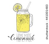 mug of lemonade with ice and a... | Shutterstock .eps vector #441001483