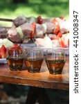 three glasses of cognac on... | Shutterstock . vector #441008347