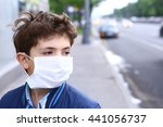 preteen boy in protection mask... | Shutterstock . vector #441056737