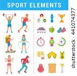 vector set sport and fitness... | Shutterstock .eps vector #441074377