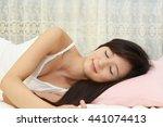beautiful woman sleeps in the... | Shutterstock . vector #441074413