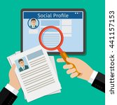 search social profile. tablet... | Shutterstock . vector #441157153