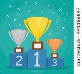 gold  silver and bronze trophy... | Shutterstock .eps vector #441186847