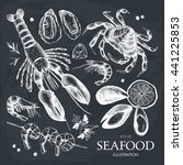 vector seafood illustrations... | Shutterstock .eps vector #441225853