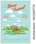 summer camping poster with tent ... | Shutterstock .eps vector #441269773