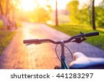 photo of bicycle on tiled road... | Shutterstock . vector #441283297