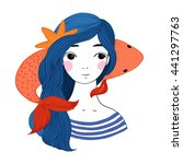 beautiful young girl sailor and ... | Shutterstock .eps vector #441297763