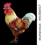 Rooster Drawing. Black...