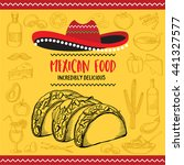 mexican menu placemat food... | Shutterstock .eps vector #441327577