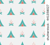 seamless pattern with tent and... | Shutterstock .eps vector #441358027