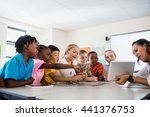a teacher giving lesson with... | Shutterstock . vector #441376753