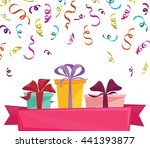 gift boxes with pink ribbon... | Shutterstock .eps vector #441393877