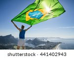 athlete stands holding a... | Shutterstock . vector #441402943