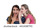 smiling woman whispering in... | Shutterstock . vector #441438793