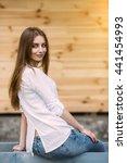 young beautiful woman posing...   Shutterstock . vector #441454993