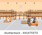 workers working at warehouse... | Shutterstock .eps vector #441475573