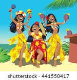 hawaii party. three young hula...