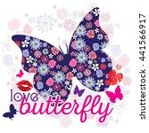 typography cute romantic love... | Shutterstock .eps vector #441566917
