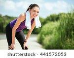 sport. happy smiling attractive ... | Shutterstock . vector #441572053
