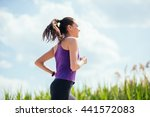 sporty beautiful woman running... | Shutterstock . vector #441572083