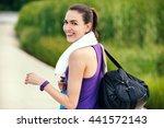 sport. beautiful smiling happy... | Shutterstock . vector #441572143
