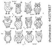 Set Of Cute Cartoon Wise Owls...