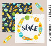 space elements gift card.... | Shutterstock .eps vector #441581683