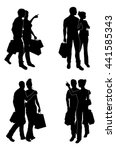 a set of couples holding bags... | Shutterstock .eps vector #441585343