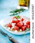 watermelon feta salad on blue... | Shutterstock . vector #441620587