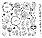 hand drawn floral clipart.... | Shutterstock .eps vector #441637567